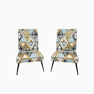 Brass Lounge Chairs with Geometric Fabric & Metal Feet, 1960s, Set of 2