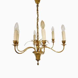 Vintage Brass Pineapple Chandelier from Boulanger, 1960s