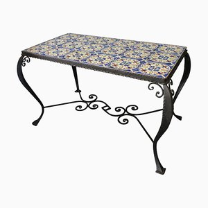 Mid-Century Wrought Iron Tiled Coffee Table