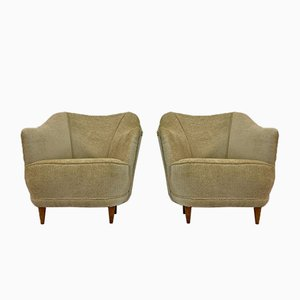 Italian Beige Club Chairs, 1950s, Set of 2