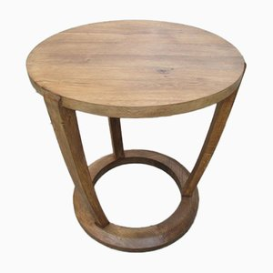 Round Art Deco Oak Coffee Table, 1940s