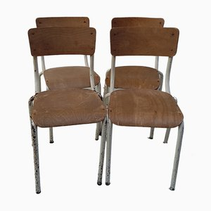 School Chairs in Lacquered Metal, 1960s, Set of 4