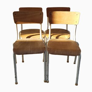 School Chairs in Lacquered Metal, 1960s, Set of 5