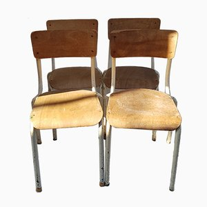 School Chairs in Lacquered Metal, 1960s, Set of 6