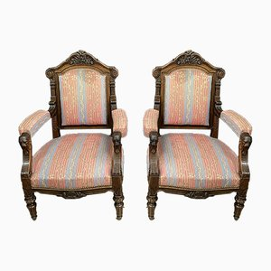 Renaissance Solid Oak Lounge Chairs, Set of 2