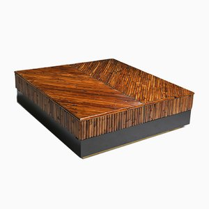 Bamboo, Black Lacquer and Brass Coffee Table by Ferdinando Loffredo, 1970s