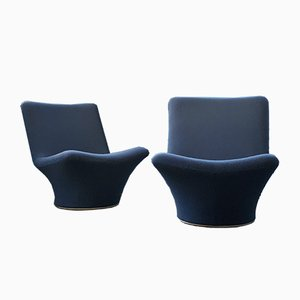 Navy Blue F596 Armchairs by Geoffrey Harcourt for Artifort, 1967, Set of 2