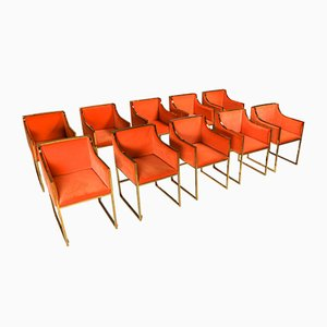 Brass & Orange Velvet Dining Chairs by Maison Jansen, 1980s, Set of 10