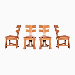 Mid-Century Brutalist Oak Dining Chairs, Set of 4