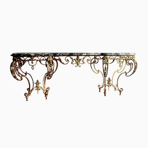 Curved Iron Console Table, 1920s