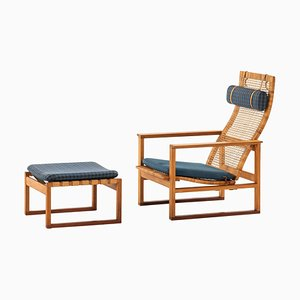 BM-2254 Easy Chair with Stool by Børge Mogensen for Fredericia Furniture, 1950s, Set of 2