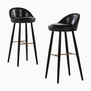 Danish Model KV 58 Bar Stools by Knud Vodder, 1958, Set of 2