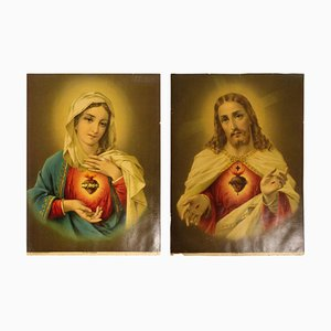 Chromo-Lithographs Immaculate Heart of Mary, 1880s, Set of 2