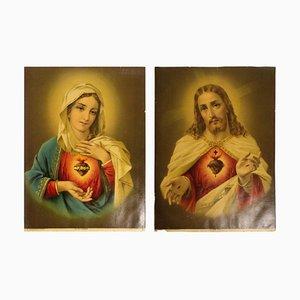 Litografías cromáticas Immaculate Heart of Mary, década de 1880. Juego de 2