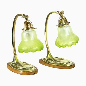 Art Nouveau Brass Lamps, 1900s, Set of 2