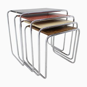 Bauhaus Colored B9 Nesting Tables by Marcel Breuer for Mücke & Melder, 1930s, Set of 4