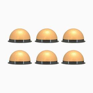 Bauhaus Chrom Deckenlampen von Zukov, 1940er, 6er Set