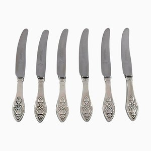 Antique Bell Lunch Knives by Georg Jensen, 1910s, Set of 6