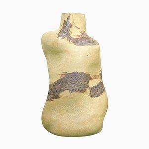 Bottle-Shaped Sculptural Vase in Golden Stoneware by Christina Muff