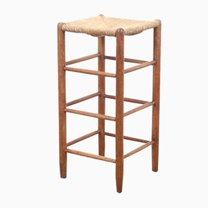 Oak High Stool with Woven Cane Seat, 1960s