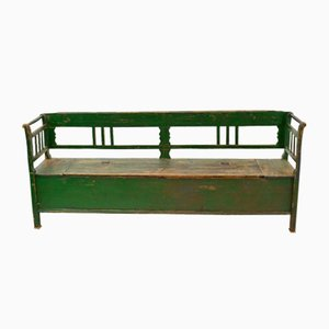 Green Vintage Hungarian Settle Bench, 1920s
