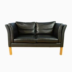 Mid Century Retro Danish Black Leather Two Seat Sofa Settee Couch from Hurrup, 1970s