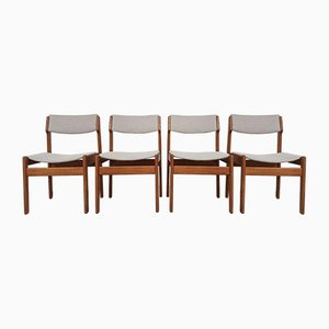 Mid-Century Norwegian Reupholstered Oak Dining Chairs, Set of 4