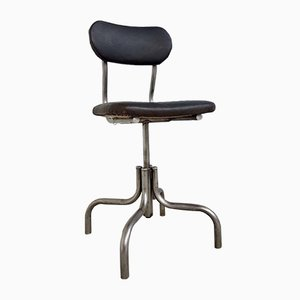 Vintage Leather Steel Industrial Factory Swivel Chair