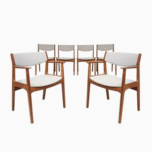 Mid-Century Danish Oak Reupholstered Linen Dining Chairs, Set of 6