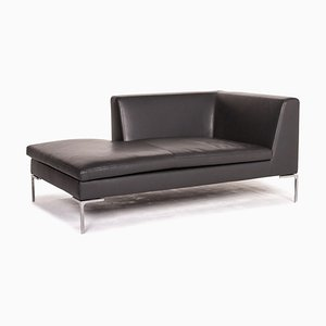 Anthracite Gray Leather Chaise Lounge from B&B Italia