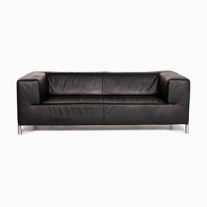 Genesis Leather Sofa Black Two Seater Couch from Koinor