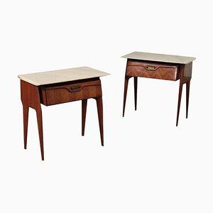 Vintage Rosewood Veneer, Marble & Brass Nightstands, Set of 2