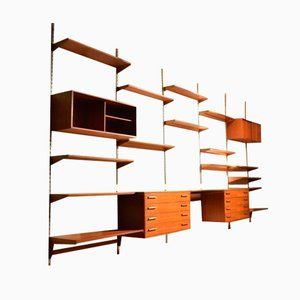 Large Danish Teak & Metal FM-reolsystem Wall Unit by Kai Kristiansen for FM Feldballe