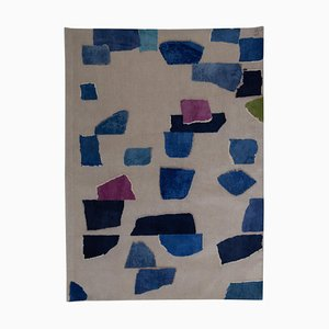 Blue Hand-Knotted Rhizomes Milky Way Rug by Charlotte Culot