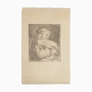 Woman with baby in her arms - Original Etching - 20th Century 20th Century