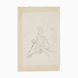 Group of Figures - Original Pencil Drawing - 20th Century 20th Century