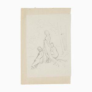 Gruppo di figure - Disegno a matita originale - XX secolo