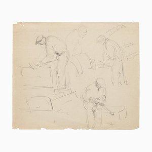 Arbeiter - Original Zeichnung - 20th Century 20th Century