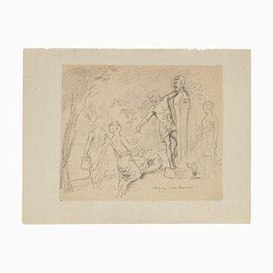 Nettoyage d'un Herrés - Original Pencil Drawing - 20th Century 20th Century