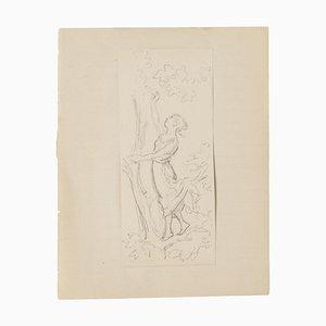 Frau und Baum - Original Bleistiftzeichnung - 20. Jahrhundert 20. Jahrhundert