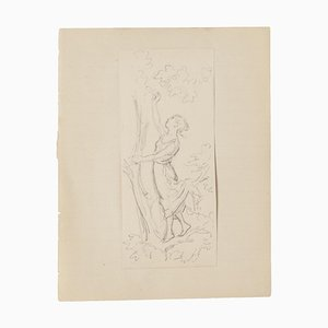 Woman and Tree - Original Pencil Drawing - 20th Century 20th Century