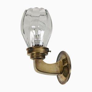 Austrian Jugendstil Brass & Glass Wall Lamp, 1911