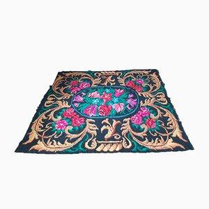 Moldavian Handwoven Black Floral Teppich