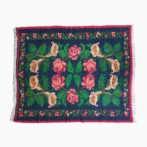 Moldavian Handwoven Floral Rug, 1960s