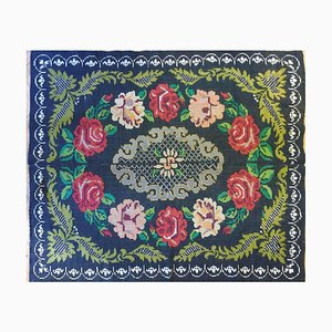 Antique Romanian Handwoven Black Wool Floral Rug