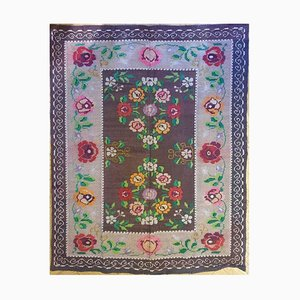 Antique Romanian Handwoven Brown Wool Floral Rug