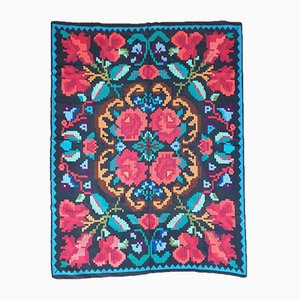 Vintage Romanian Handmade Floral Cover or Rug, 1980s