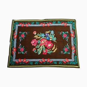 Handgemachter rumänischer Vintage Blumenbezug oder Teppich