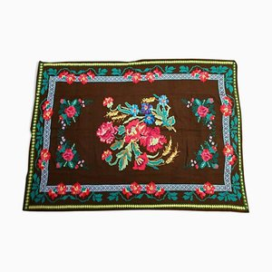 Vintage Romanian Handmade Floral Cover or Rug