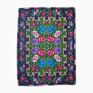 Vintage Romanian Handwoven Green Floral Rug, 1980s